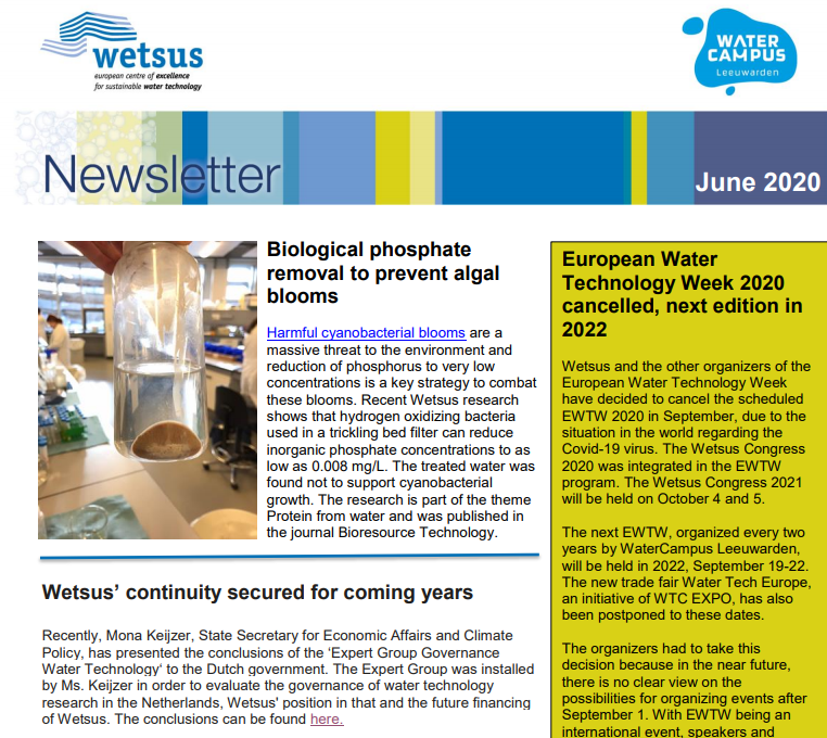 Wetsus News June 2020